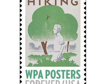 10 Forever Nature Hiking Stamps  // Vintage 1930s Travel Poster Postage Stamps // Forest Green Tree Forever Stamps for Mailing