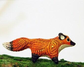 Red Fox Figurine Sculpture, Animal Totem