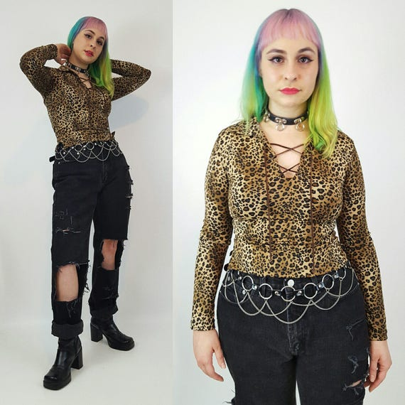 90's Leopard Print Top Small Medium - All Over Print Lace Up Cheetah Pattern Long Sleeve Shirt - 190's Animal Print Womens Collared Tee