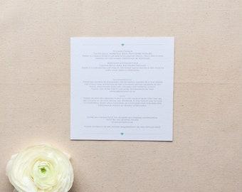 EMILY // Wedding Stationery // Additional Information Card