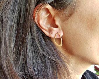 Oval Stud Earrings, Oval Earrings, Geometric Earrings, Gold Earrings, Geometric Jewelry, Minimalist Jewelry, Silver Earrings, Gift For Her