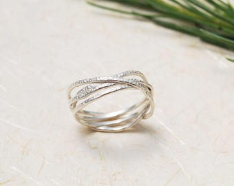 Unique Silver Ring, Hammered Silver ring, Wrapped Silver Ring, Celtic ring, Unusual Silver ring, Unique textured ring, Unique promise ring