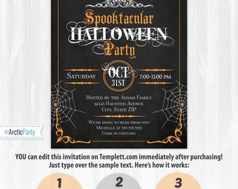 Halloween Invitations, Halloween Party Invitations, Halloween Chalkboard - Halloween Party Supplies - INSTANT ACCESS - Edit from home NOW!