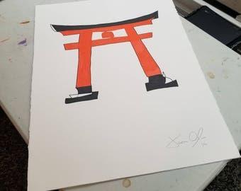 Torii, Medium (Color): Framed and Signed Edition of 50 by Jason Oliva Japan Shinto Japanese art