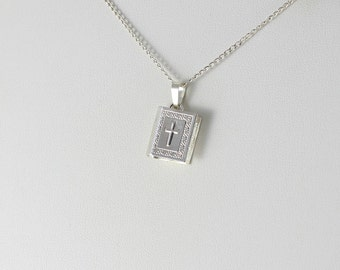 Sterling Silver Bible Cross Locket Necklace 18 inch chain