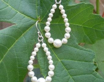 Ivory Cream Graduated Swarovski Pearl Raindrop Earrings