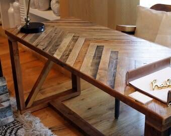 Reclaimed Wood, Herringbone Desk / Handmade