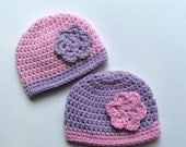 Twin Girls Preemie Hats, Crochet Preemie Hats, NICU Preemie Clothes, Reborn Baby Hats, Baby Girl Outfit, Newborn Hospital Hats, Premature