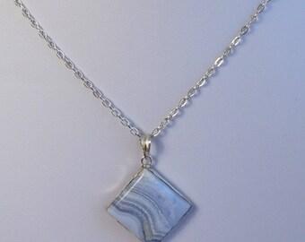 Blue Lace Agate Pendant Necklace