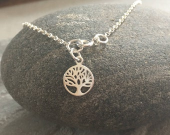 Sterling Silver Tree of Life Charm Ankle Bracelet, 925 Silver Anklet, Silver Chain Ankle Bracelet, Summer Jewelry,