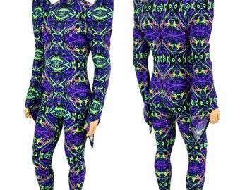 UV GLOW Neon Melt Mega Sharp Shoulder Pixie Sleeve Mock Turtle Neck Back Zipper Metallic Rave Festival Drag Catsuit - 155108