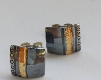 Square, domed, sterling silver, stud earrings. Keum Boo - 24ct gold. Oxidised with patina. Perfect. Mothers Day Gift
