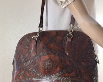 Tooled Leather Purse, Made In Italy, Shoulder Bag, Horses, footed purse