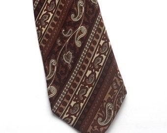 """Vintage Designer  Tie,Ted Lapidus Paris Necktie,Brown and Beige Silk Tie,Paisley Tie,Boho Unisex Accessories,3"""" Wide Hipster Tie"""