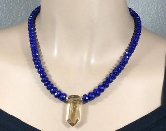 Faceted Lapis Lazuli-Congo Citrine Pendant Necklace-Designer Clasp-18 inch-Gemstone Necklace-Isa Stone-Statement Necklace-Bold