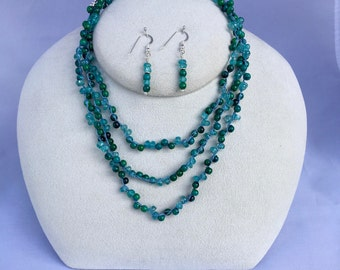 Aqua Blue Apatite and Turquoise Gemstone Long Necklace, Hand Crochet on Pure Silk Thread,  Matching Earrings & Sterling Silver