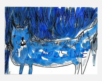 Original aceo card Cat illustration, blue cat drawing, ink drawing, cat art, original cat drawing, original atc, a full time cat, aceo cat