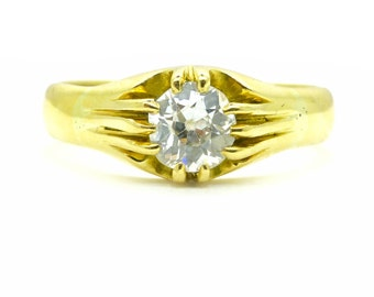Antique old mine cut Diamond Solitaire  ring 18ct/18K vintage English Estate single stone 0.80ct Victorian/Edwardian engagement*FREE Ship