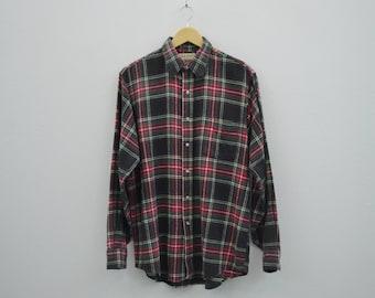 LL Bean Shirt Men Size M Vintage LL Bean Casual Shirt Ll Bean Plaid Shirt Made in USA