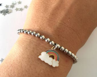 925 silver bead bracelet and enamelled rainbow pendant