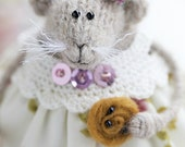 Mothers day gift for grandma Gift for mother in law Knitted mouse art doll creature Stuffed animal doll Bendy plush rat lover gift for women