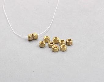 10Pcs, 6mm Raw Brass Wheel Beads hole size 2.5mm , GY-TQT3729