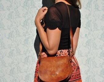 Vintage bag, saddle bag, brown saddle bag, leather purse, leather shoulder bag, vintage shoulder bag, simple leather bag, brown leather bag