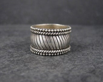 Wide Sterling 13mm Band Ring Size 7.5