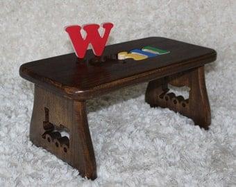 Name Puzzle Stool - Dark Walnut finish - Step stool New Baby First Birthday & Train step stool | Etsy islam-shia.org