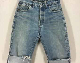 Women's Vintage Levi's 501 Blue Denim Selvedge Redline Cutoff Shorts Sz 27