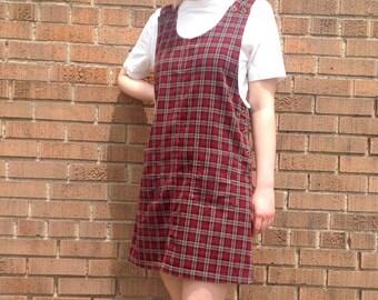 90s Corduroy Dress, Overall Dress Plaid Sleeveless, Jumper Dress, Size S/M, Red & Gray Plaid Jumper, J.L.N.Y.