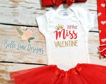 Little Miss Valentine | Baby Girl Valentine Onesie | Baby Girl Valentine Shirt |  Valentine Onesie | Baby First Valentine | 167