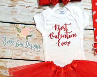 Best Valentine Ever Baby Girl Valentine Onesie | Baby Girl Valentine Shirt |  Valentine Onesie | Baby First Valentine | 157