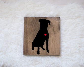 Hand Painted Rottweiler Silhouette on Stained Wood, Dog Decor, Dog Painting, Gift for Dog People, New Puppy Gift
