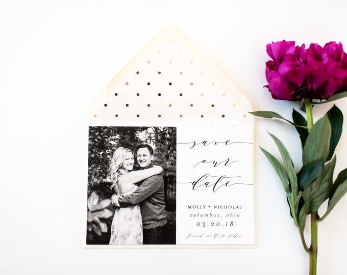 NEW! photo save the date invitation  //  printable or printed /  photo save the date card modern calligraphy custom gold foil