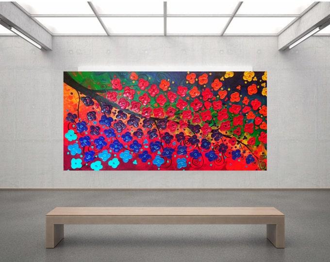Rainbow Tree of Life Impasto Acrylic Palette Knife Painting