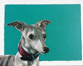 Whippet painting, Whippet art, original sighthound acrylic painting, acrylic on stretched canvas, 12 X 14 inches, greyhound painting