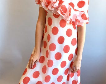 VTG 1970s Victor Costa Red and White Polka Dot Dress w/ Capelet