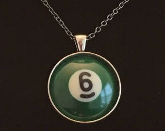 "Necklace - # 6 Pool Ball  (16""-24"")"