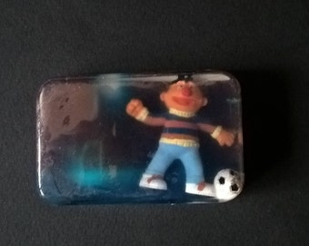 """Original soap with toy inlaid """" Ernest playing soccer"""" of Sesame street - Orange Blossoms fragrance"""