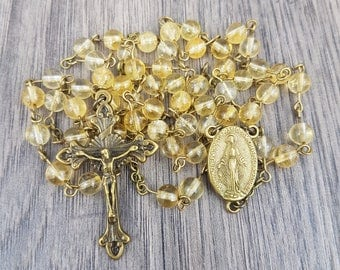 Natural Citrine Rosary with Miraculous Medal centre