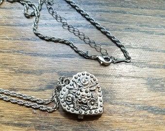 Vintage silver heart locket watch