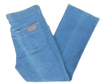 Vintage 70s Soft Light Blue Denim Pants Size 31 x 27