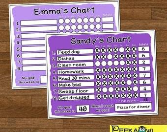 Personalized Kids Chore Chart - Chore Chart for girls - Responsibility Chart - Reward Chart - Printable Behavior Chart - Girls Chore Chart!