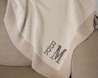 Monogrammed Throw | Adult Blanket | Monogrammed Blanket | Soft Cotton Throw | Herringbone Blanket | Stag Blanket | Christmas Gift