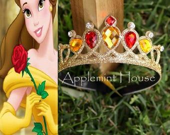 Belle Crown,Princess Belle Crown,Birthday Belle Crown,The Beauty And The Beast Belle Crown, Belle Tiara Headband,Belle Birthday Crown