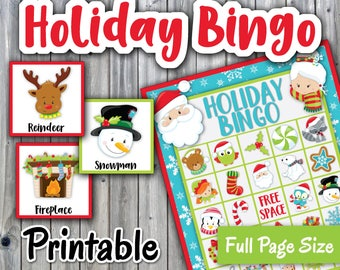 Holiday Bingo Printable Game - Christmas Bingo - 30 different Cards - Christmas Memory Game - Party Game Printable - INSTANT DOWNLOAD