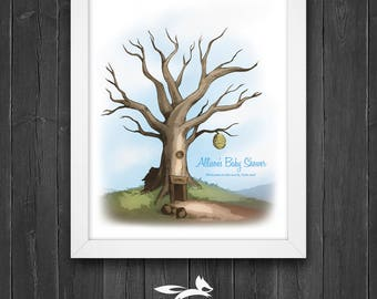 Baby Shower Guest Book Tree with Instruction Card, Honey Bear Tree, Baby Shower Tree, Custom, Personalized, Printable, Download