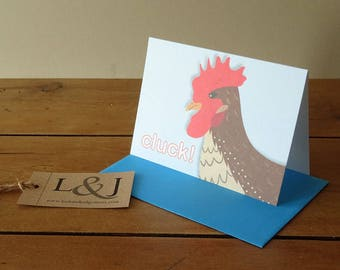 Chicken Card, Hen Greeting Card, Hen Party Card, Backyard Chickens, Hen Card, Chicken, Hen Cards, Farm Animal, Countryside, Country Animals