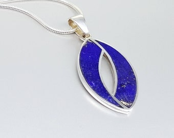 Beautiful pendant with Lapis Lazuli with Sterling silver - inlay work - royal blue - gift idea Christmas - natural stone - eternal jewelry